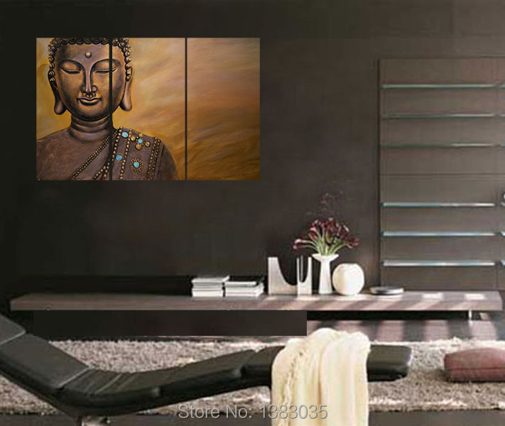Hand Painted 3 Piece Buddha Wall Art Religion Canvas Oil Painting Modern Abstract Home Living Room Decor Picture Sets In Calligraphy From
