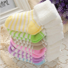 0-3 years Baby Cotton fashion stripe plus thick Children Socks Boy Girl Toddler Learning to walk Socks Autumn Winter new Kids CN