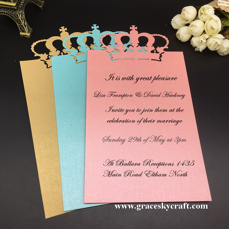 30pcs laser cutting Crown design single paper Save The Date RSVP ...