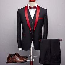 Plyesxale 3 unidades trajes hombres 2019 primavera otoño chal rojo Collar de  novio traje de boda traje Homme Mariage traje de Na. 7aa298b898d
