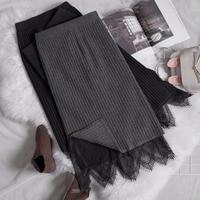 Winter Women Lace Knit Split Two Wear Slim Skirts Knitting Lace Patchwork Elastic Waist Long Half