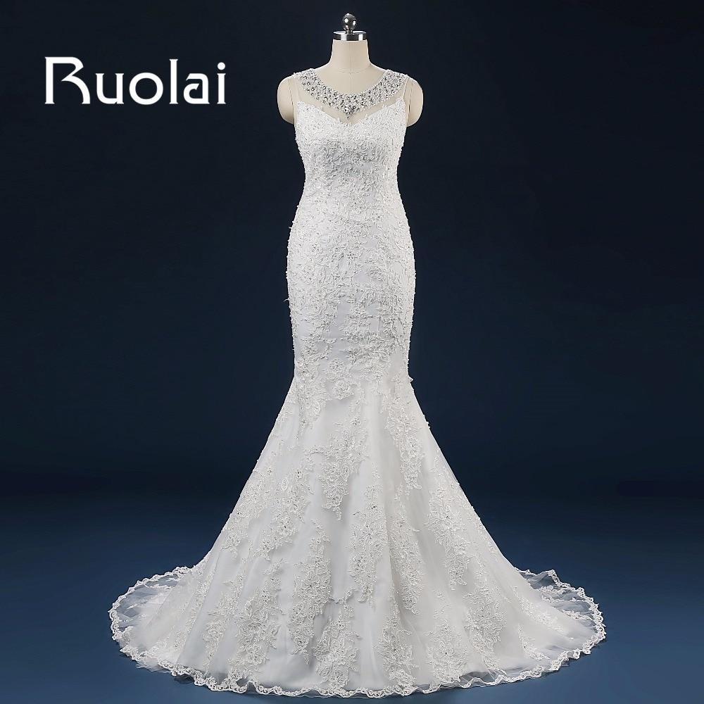 Vestido de festa Luksuzna sirena Vjenčanice 2017 Scoop rukava aplicirano izvlačenje Kristalno čisto povratak Vjenčanje haljina Prilagodba