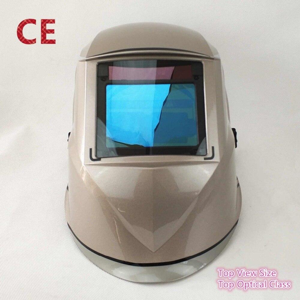 Casque de soudage Top Vue 100x73mm (3.94x2.87 ) top Classe Optique 1111 4 Capteurs Ombre DIN 4 (3)-13 CE Auto Assombrissement Masque De Soudage
