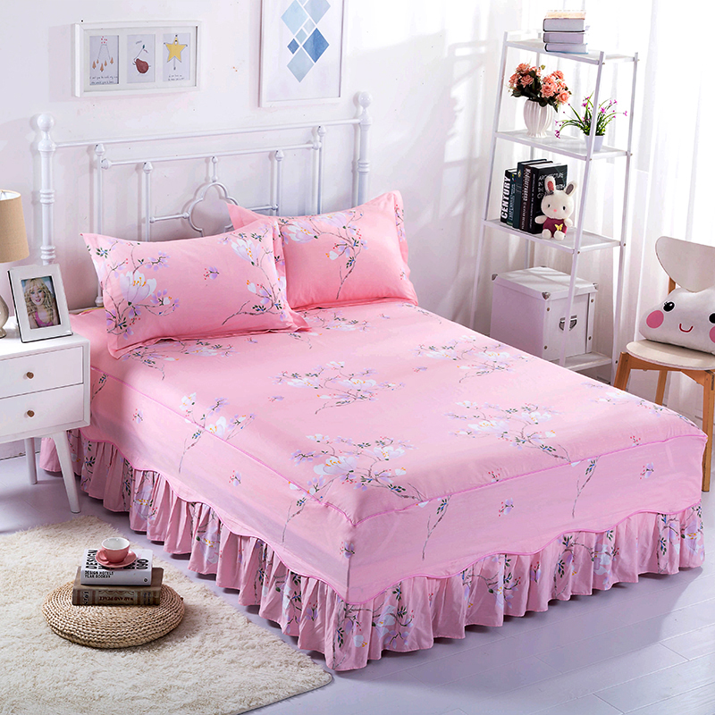 Natural Life Bedding 100% Cotton Bed Skirt Three Sets Of Elegant And Comfortable Breathable Bedspread Plus Pillowcases Sets