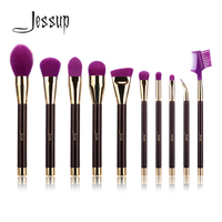 Jessup 10pcs Purple Darkviolet Makeup Brushes Sets Beauty Synthetic Hair Wood Handle Makeup Brush Tool Kits