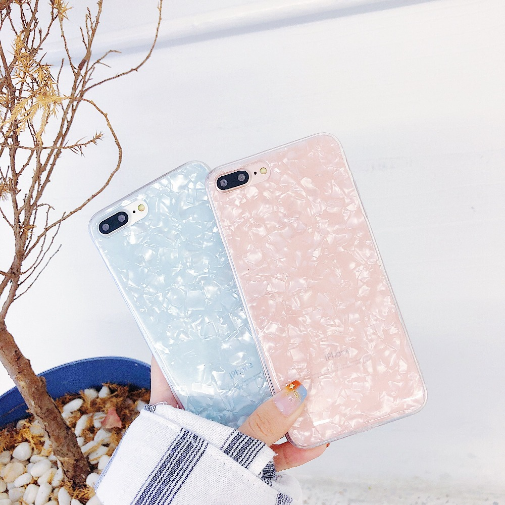 KMUYSL Luxury Conch Shell Phone Case For iPhone 6 6s Plus 8 7 Plus X 10 Candy Color Shining Foil Marble Lovely Funny Retro Cover