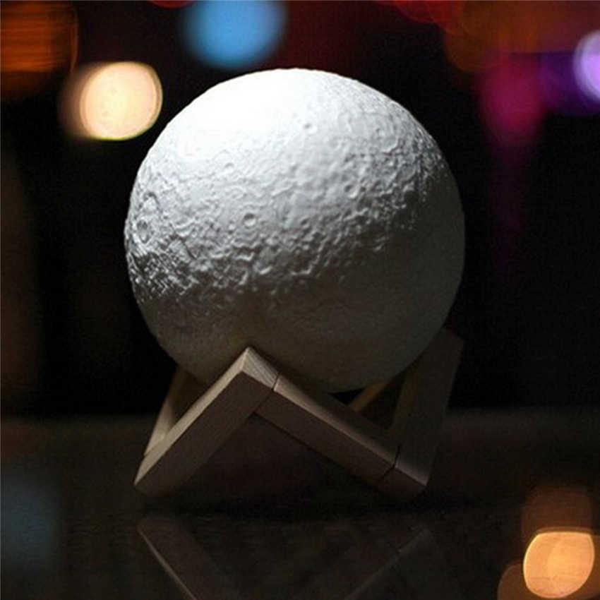 Перезаряжаемая 3D лампа с изображением Луны 2 цвета, меняющая белый желтый сенсорный выключатель, спальный книжный шкаф, ночник, домашний декор, креативный подарок