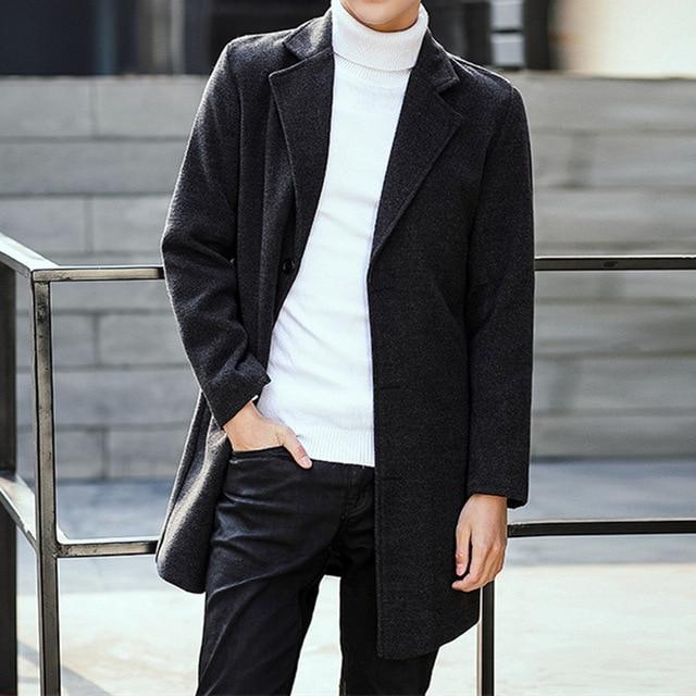 New Hot Men Wool Blends Suit Design Wool Coat Design Slim Fit Office Suit Jackets Coat Men Casual Trench Coat Drop Shipping