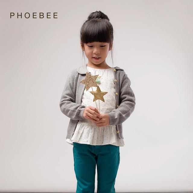 Мериносовая шерсть Детские свитера для девочек от 2 до 8 лет Детские зимние свитера желтого и серого цвета Кардиган для девочек марки Рhoebee