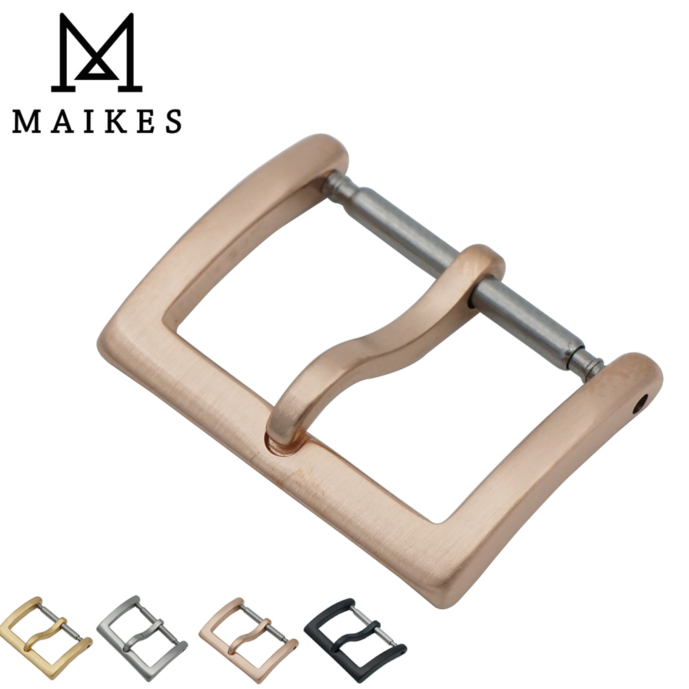 MAIKES New Arrival 16mm 18mm 20mm 316L Stainless Steel Rose Gold Watch Buckle Leather Strap Band Watch Clasp WATCH-BUTTOM new arrival watch band carbon fibre watch strap with leather lining stainless steel clasp free shipping