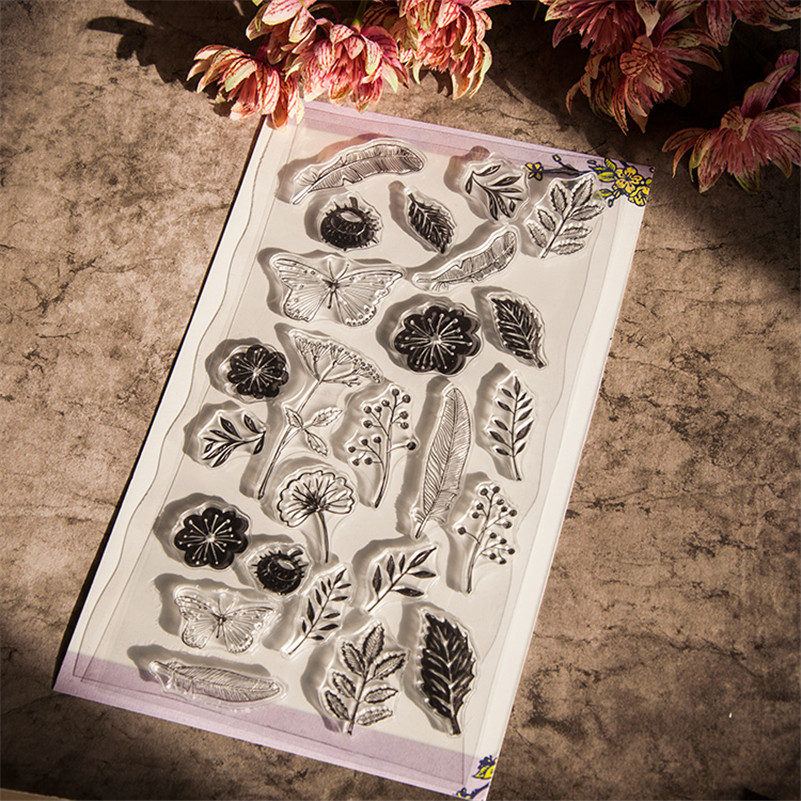 flowers and plants Butterfly Transparent Clear Stamp DIY Silicone Seals Scrapbooking Card Making Photo Album craft CC-027 flowers lace design transparent clear stamp diy silicone seals scrapbooking card photo album for wedding gift cl 192