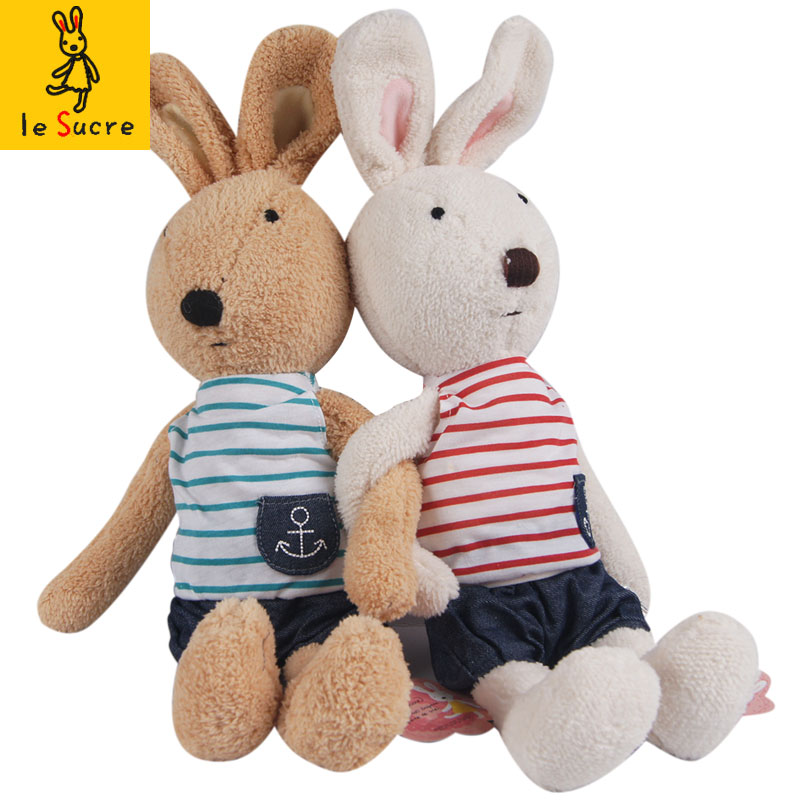 Free Shipping 30/45/60/90cm Kawaii Navy Le Sucre Rabbit Plush Doll Bunny Stuffed Toy For Children