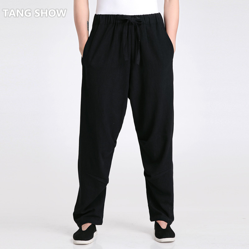 X-Future Mens Cotton Linen Pure Color Loose Chinese Style Casual Harem Pants