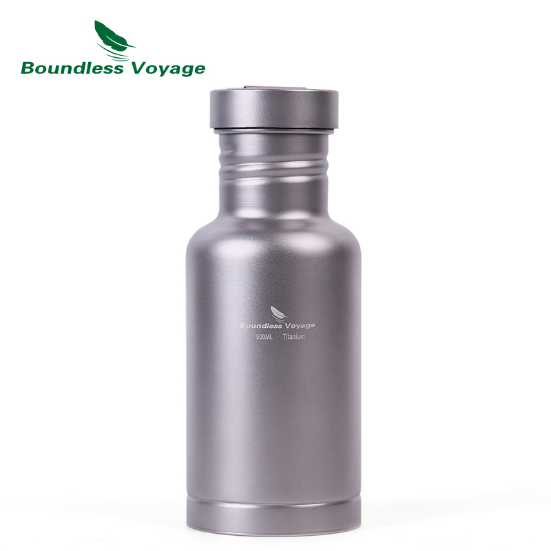 Boundless Voyage Outdoor Camping Titanium Water Bottle with Titanium Lid Cycling Hiking Sports Picnic Drink 17oz/500ml outdoor sports aluminum water bottle green 500ml