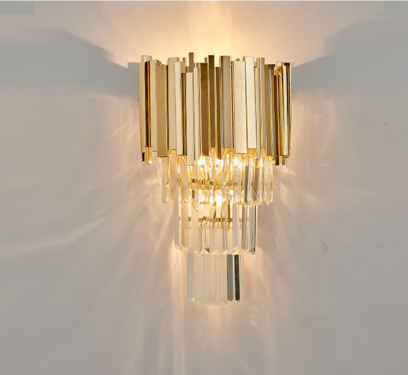 Phube Lighting Post-Modern Crystal Wall Sconce Light Crystal Wall Luxury Creative Warm Hallway Bedroom Bedside Lamp