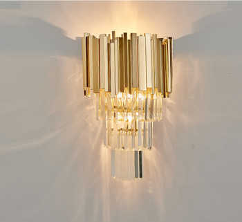 Phube Lighting Post-Modern Crystal Wall Sconce Light Crystal Wall Luxury Creative Warm Hallway Bedroom Bedside Lamp