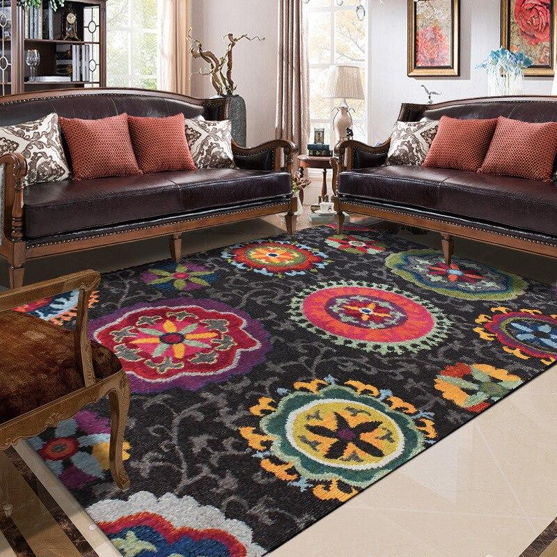 Image 2 - Vintage abstract ethnic style floral black Bedroom carpet  customization Living room bathroom mat non slip floor mat velvet  rugMat