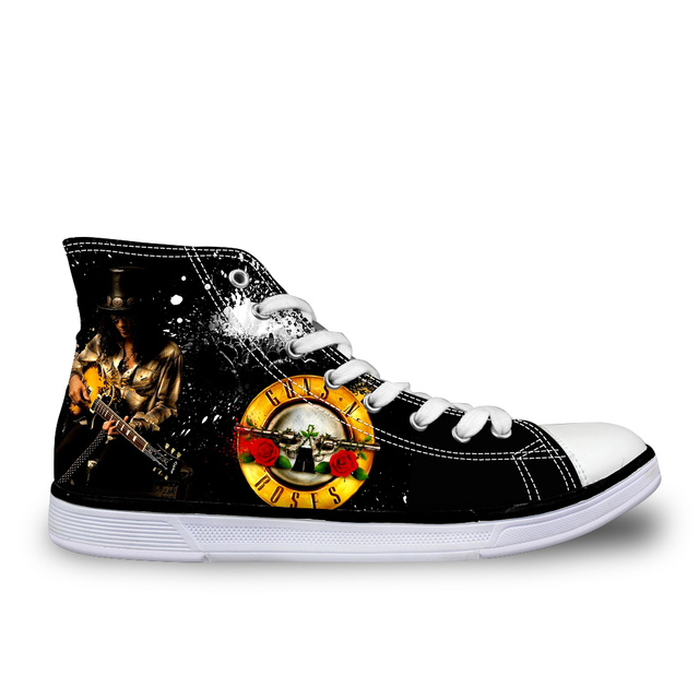 FORUDESIGNS Guns N Roses Men Women Vulcanized Shoes Fashion Casual Female High Top Ladies Lace-up Canvas Flats Couple Footwear