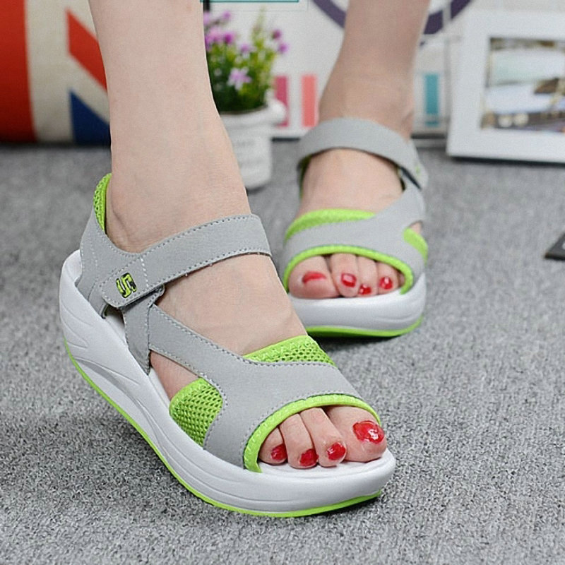 2019 Fashion Summer Womens Thick-Soled Mesh Breathable Shoes Ladies Heightening Wedges Platform Sandals