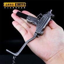 MicroUZI Game Playerunknown's Battlegrounds 3D Keychain PUBG Keyring saucepan Pendant funny kids Toy gun accessories