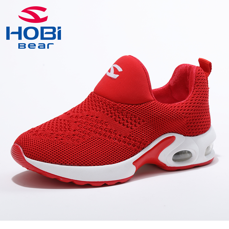 Kids Sport Shoes for Boys Girls Sneaker Shoes for Children Tennis Footwear Running Trainers Red Black Slip on Hobibear GS3568 forudesigns kids sport shoes boys girls for children walking cycling running nebula pringting lace up sneaker shoes outdoor