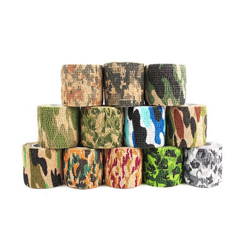 Outdoor Hunting Accessories Camouflage 5*220cm Waterproof Adhesive Tape Rifle Hiking Camping Army Camo Bionic Wrap (Random)