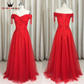2017 Del Nuevo A-line Largo Rojo Apliques Rebordear Vestidos de Noche Elegante robe de soirée vestidos de fiesta Vestido de Noche INS01
