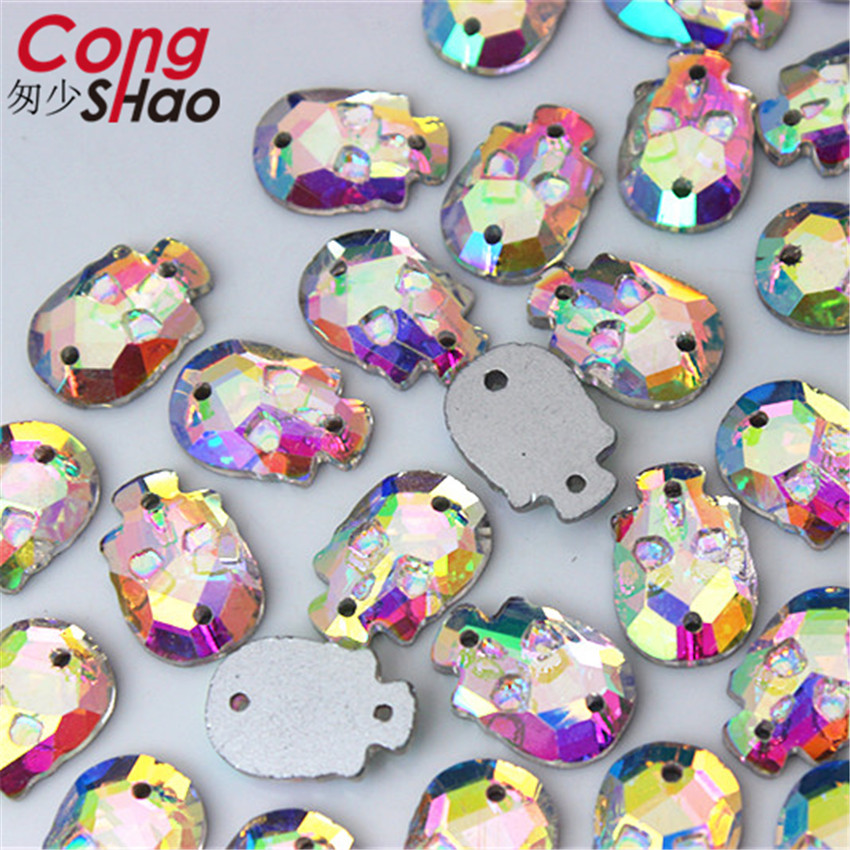 Cong Shao 100Pcs 10 14mm Skull Glass Rhinestones trim DIY Glitter Wedding  Dress Flat Back sewing 2 Hole Crystals stones CS6-in Rhinestones from Home  ... d064e93ff30e