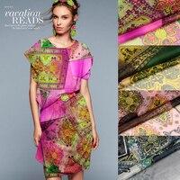 Groothandel (5 meters/partij) breedte 135 cm 100% echt moerbei zijde georgette print retro grijs geometrische stof voor jurk diy naaien