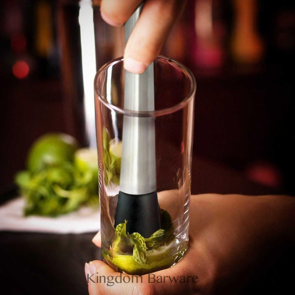 เครื่องดื่มค็อกเทลสแตนเลส Muddler - บาร์ที่ดีที่สุดเครื่องมือสำหรับ Old Fashioned & Mojito สแตนเลสร่องหัวไนล่อน