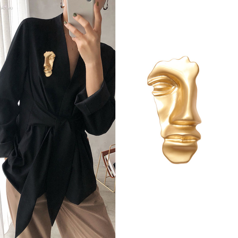 AOMU-Simple-Vintage-Broches-Abstract-Face-Mask-Gold-Color-Brooches-Pins-Collar-For-Women-Dance-Party