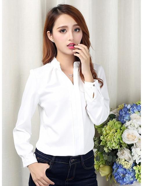 3bbd5617d Moda para mujer blusas blancas elegantes gasa con cuello en V camisa casual  damas escolares tops