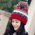 XUYE women knitted Double layer thicken cashmere warm hat girl wool Skullies Beanies fashion cap lady Pompon hats ears caps