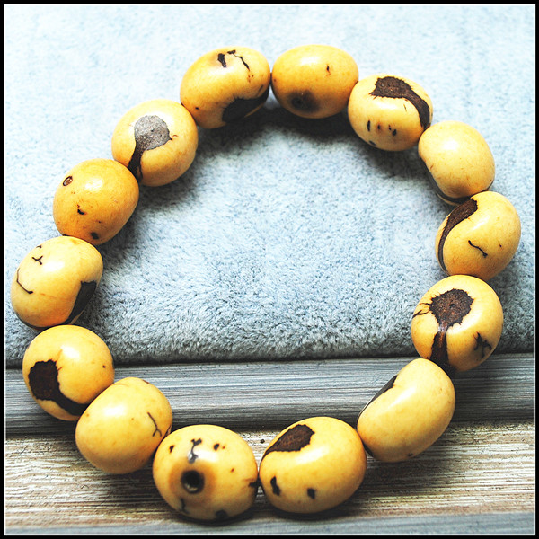 natural plant seeds  or nuts wooden bracelets mushroom men bracelets size 14mm powerful bracelets religious jewelry