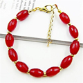 Vintage Classic Laboratory-created Natural Stone Jewelry Fantasy Rubies  Beaded Chain Bangle Bracelet  for Women 20cm