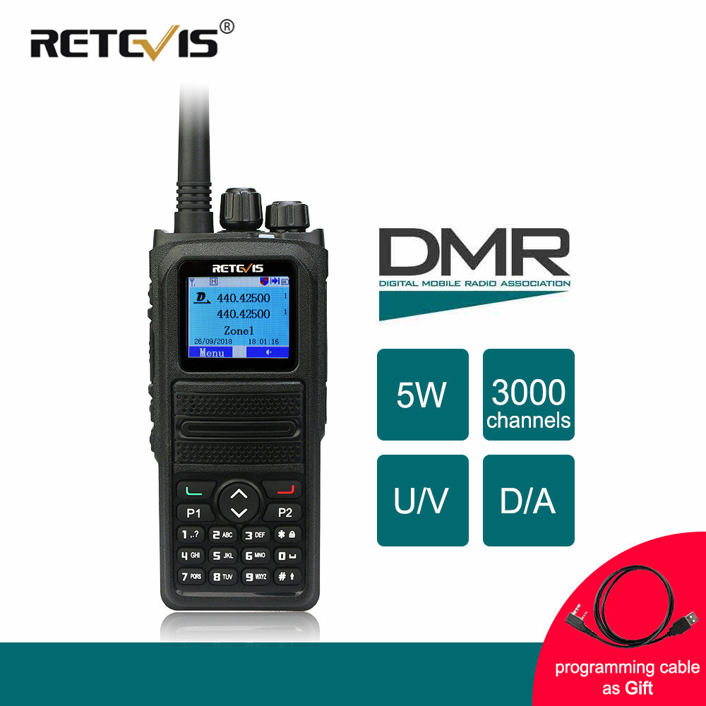 Retevis RT84 DMR Dual Band Walkie Talkie 5 W VHF UHF DMR Digitale/Analogico Radio A due vie Ricetrasmettitore ham Radio portatile Amador + Cavo