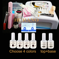 BURANO 36w white lmap Nail Art UV Gel Kits Tool UV lamp Brush Remover nail tips uv gel polish manicure set #005set