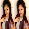 Ombre Silk Straight Black Root to Burgundy Synthetic Lace Front Wigs Cheap Glueless Heat Resistant Burgundy Wigs for Black Women