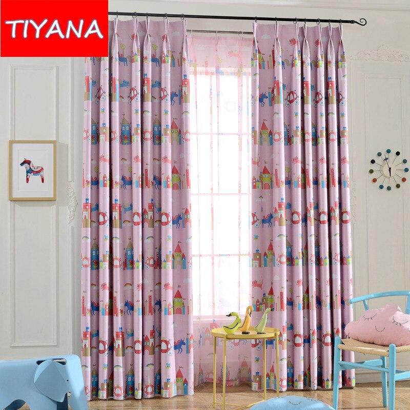 rosa blackout cortinas cortinas para nios nias dormitorio azul castillo de dibujos animados para nios sala with cortinas para nia