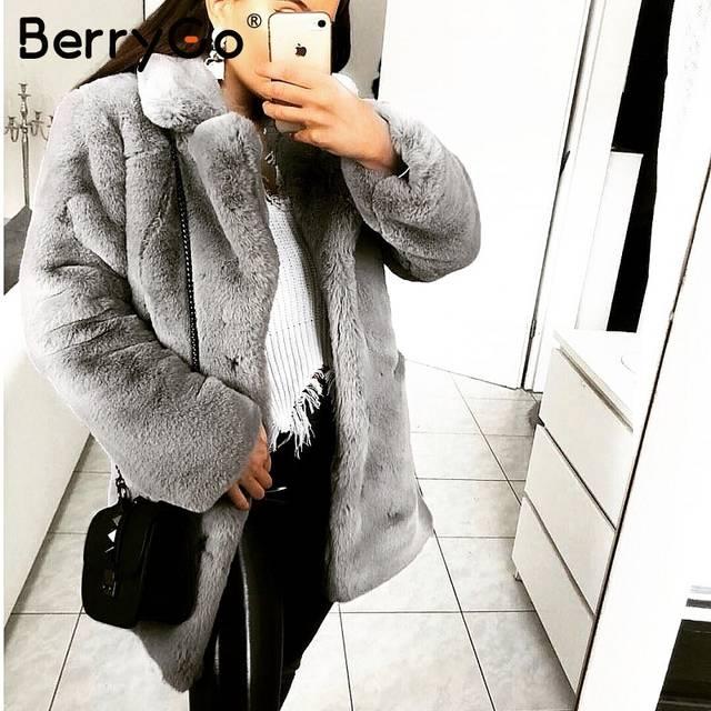 398d5520988 BerryGo Warm faux fur coat winter woman coat Elegant winter women soft fur  coat 2018 Soft warm streetwear women fur coat