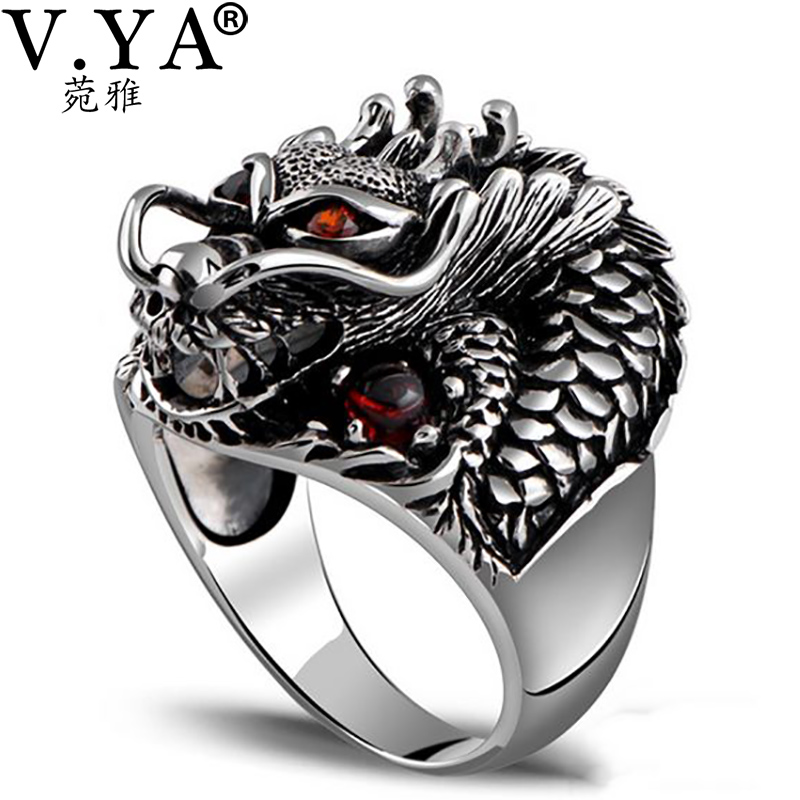 V.YA Genuine 925 Sterling Silver Big Size Rings For Men Punk Style Thai Silver Dragon Head Ring With Red Stone Party Jewelry цена