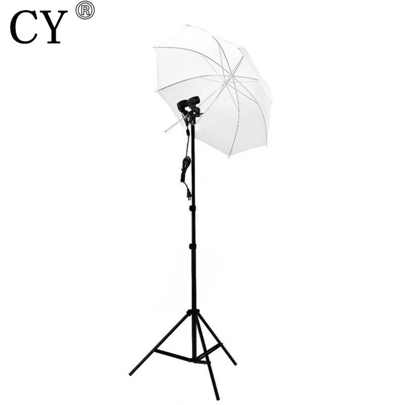 CY Photography Studio Lighting Kits Light Stand +White Umbrella+220v Twin Umbrella Holder Bracket Photo Studio Set Hot Selling