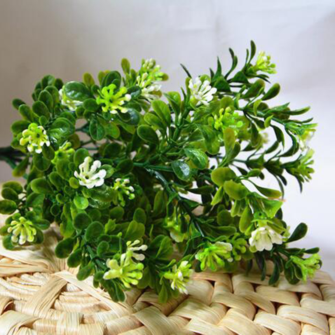 Nice 7 Branch/Bouquet 35 Heads Artificial Green Plant Fake Milan Grass Bonsai Decoration Leaf Corner Lawn Decoration