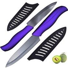 Cuchillo afilado cuchillo de cerámica de 4 pulgadas y 5 pulgadas de corte cuchillo con hoja negro + púrpura manejar cuchillos de cocina conjunto de dos piezas