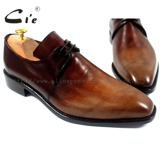 cie Free Shipping Handmade Genuine Calf Leather Mens Dress/Classic Derby Color Brown Patina Square Toe Italian shape Shoe NoD43