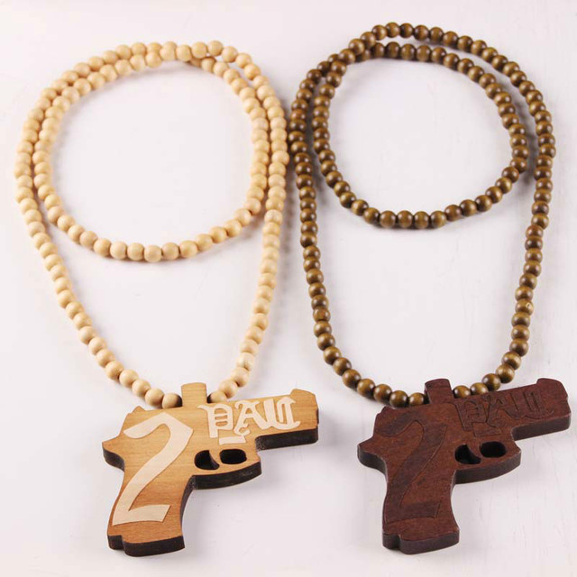 Weapon laser engraved gun wooden bead necklace solid wood pistol weapon laser engraved gun wooden bead necklace solid wood pistol pendant hiphop necklace x 1 aloadofball Gallery
