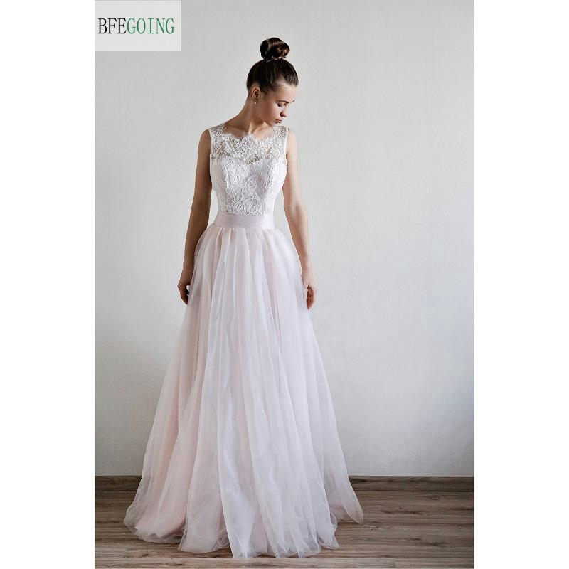Tulle Lace A line Floor Length Wedding dresses Belt Bow Sleeveless Bridal Gown Custom made