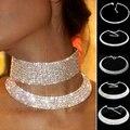 Venda quente excelente brilhante cristal rhinestone cadeia collar choker colar de aniversário de casamento jóias nl-0729