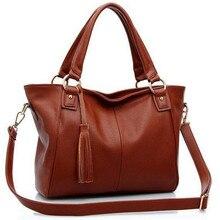 HOT Sale Women PU Leather Handbag Retro Tassel Chains Shoulder/Crossbody Messenger Bags Fashion Ladies Bags bolsa feminina