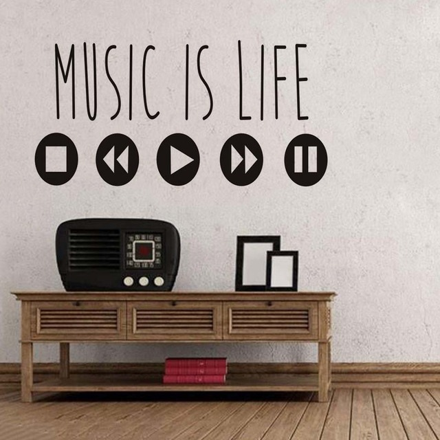 Popular Minimalist Music Is Life Wall Decals Saying Quotes Creative Vinyl Art Stickers Music Equalizer Home & Popular Minimalist Music Is Life Wall Decals Saying Quotes Creative ...